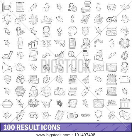 100 result icons set in outline style for any design vector illustration