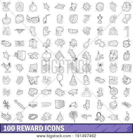 100 reward icons set in outline style for any design vector illustration