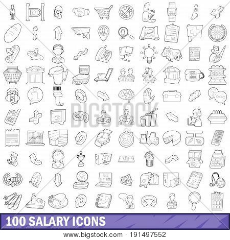 100 salary icons set in outline style for any design vector illustration