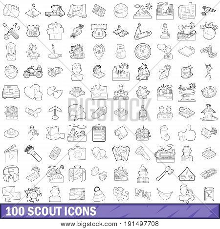 100 scout icons set in outline style for any design vector illustration