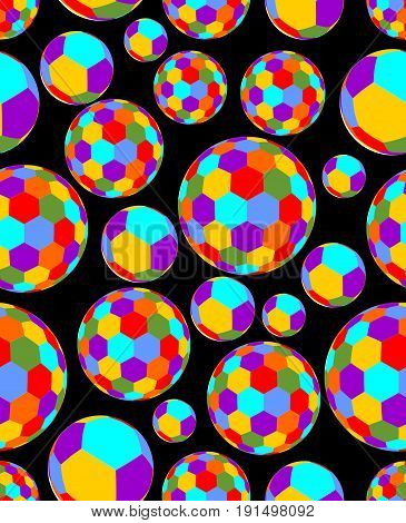 Cheerful colored balls with hexagon texture on a contrasting black background. Seamless vector background.