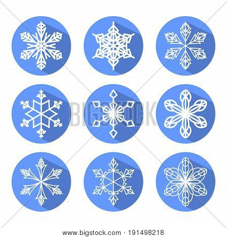 Set of white snowflakes in blue circle with long shadow. Modern design element for christmas decoration eps 10 vector