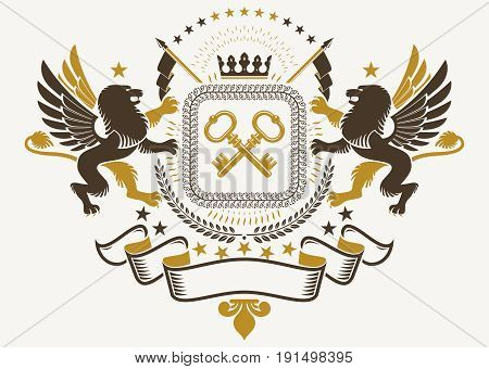 Luxury heraldic vector emblem template. Vector blazon composed with mythology gryphon crossed keys and monarch crown pentagonal stars.