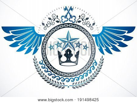 Winged classy emblem vector heraldic Coat of Arms created using security keys royal crown and stars