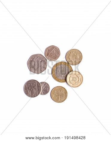 British Pound coins isolated on white background