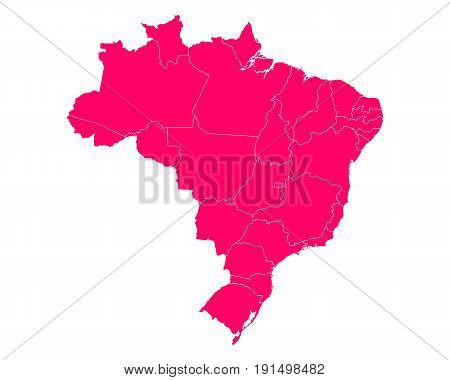 Detailed and accurate illustration of map of Brazil