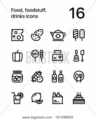Food, foodstuff, drinks icons for web and mobile design pack 2