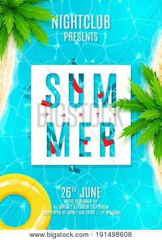 Blue summer party flyer. Beautiful background with top view on sea, sea shore and palm trees. Vector illustration. Invitation to nightclub.