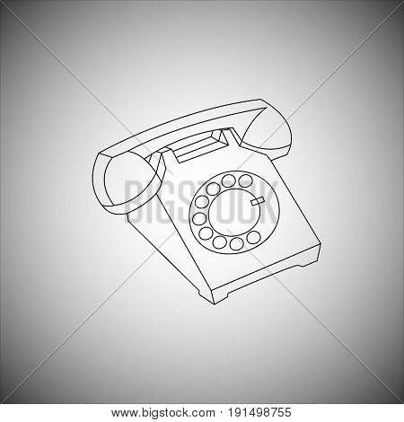 Vector illustration of an old telephone with a dial of a dialer drawn by contour lines on a gradient background