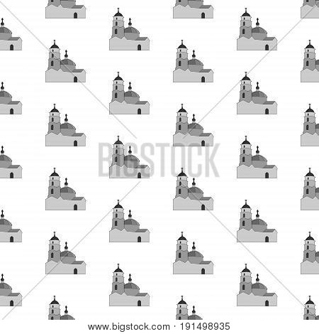 Vector illustration of a pattern consisting of orthodox churches in gray tones repeating in staggered order on a white background