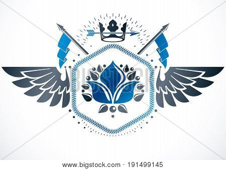 Retro winged vintage Insignia made with vector design elements like lily flower royal symbol and imperial crown