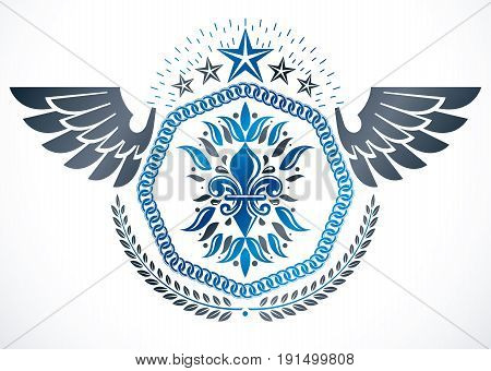 Vintage vector design element. Retro style winged label decorated using lily flower pentagonal stars and laurel wreath