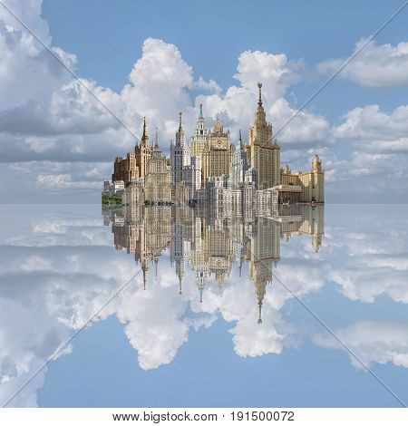 Collage Architecture of Moscow 50-ies of the 20 century. Seven Stalin skyscrapers against the blue sky
