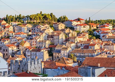 Landscape photo of mediterranean stony buildings in Croatia