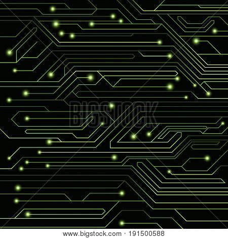 High-tech background of green color from a computer board with LEDs and luminous neon connectors. Computer circuit. A large electronic network. Vector illustration. EPS 10