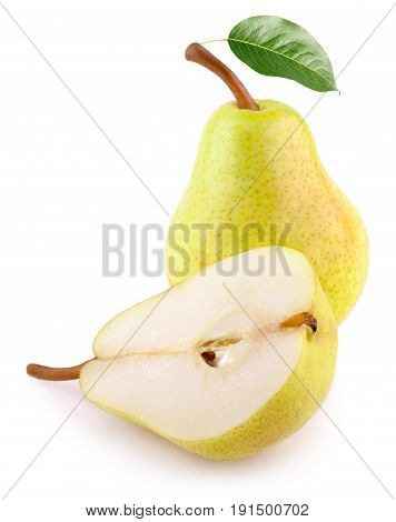 Yellow Pear Fruits With Green Leaf On White Background