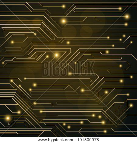 High-tech background of orange color from a computer board with LEDs and luminous neon connectors. Computer circuit. Flashing light bulbs. Vector illustration. EPS 10