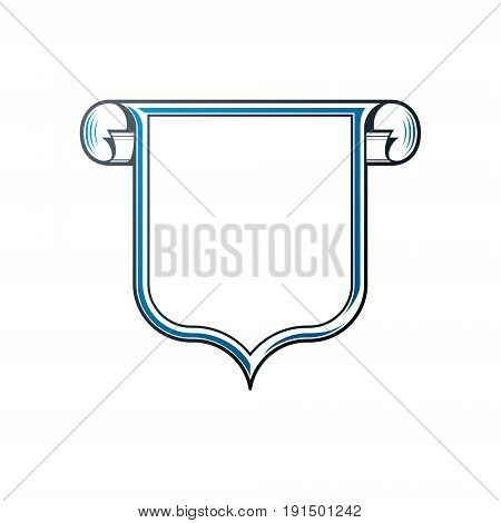 Vintage frame with clear copy-space and cartouche heraldic design protection shield. Antique Coat of Arms decorative emblem isolated vector illustration.