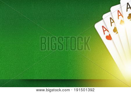 Blackjack and Poker Copy Space Backdrop Concept Illustration. Playing Cards Background.