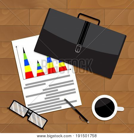 Quarterly business report top view chart. Vector quarter and annual report illustration of business report