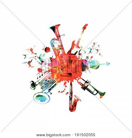 Music poster with music instruments. Colorful euphonium, double bell euphonium, saxophone, trumpet, violoncello and guitar with music notes isolated vector illustration design
