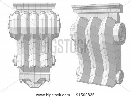 Architectural window decoration isolated on white background