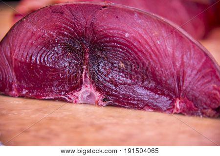 Fresh Raw Tuna Fish Steaks in Catania Fish Market - May 2017