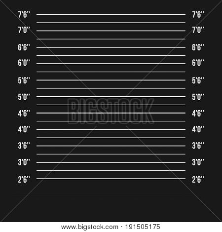 Police Wall Lineup Metrical Imperial. Prison Background Template. Vector