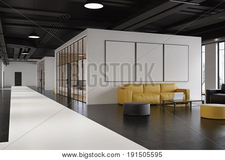 Office waiting room interior with a yellow sofa a gray armchair a poster gallery on a white wall and a narrow table with a laptop on it. Corner. 3d rendering mock up