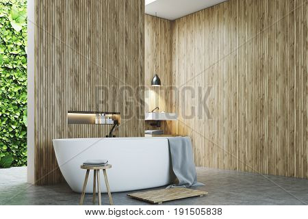 Eco Bathroom Corner, A Sink And Wood