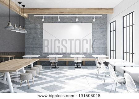 Modern cafe interior with wooden walls and gray floor pattern tables and round chairs near tall windows. Large horizontal poster on the wall. 3d rendering mock up