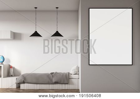 Close up of a kids room interior with a poster hanging above a bed bookshelves and a blue chair. White walls. 3d rendering mock up