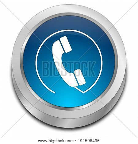 silver blue Phone call Button - 3D illustration