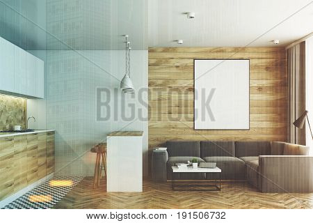 Living room in a studio apartment with wooden and white walls wooden floor and tiles near countertops in the kitchen corner. Bar table with stools. Vertical poster. 3d rendering mock up toned image