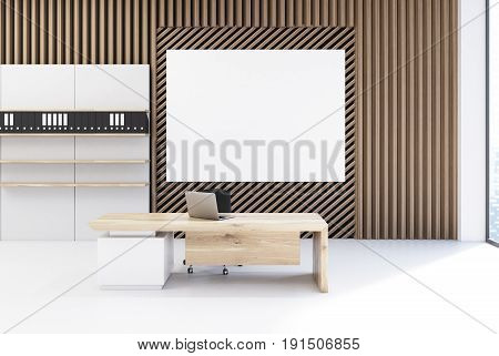 Plank Office With A Poster And Bookcases