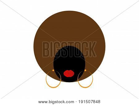 portrait African Women , dark skin female face with hair afro on isolated background
