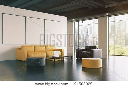 Office Waiting Room: Sofa, Gallery, Side Toned