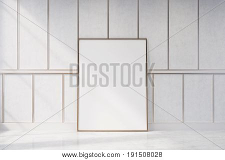 White Wood Empty Room With A Vertical Poster