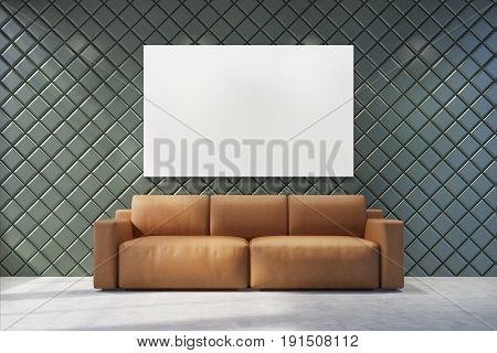 Gray living room interior with a large horizontal poster on the wall. There is a brown couch in a center of the room. 3d rendering mock up