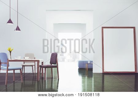 Green dining room interior with a long wooden table and chairs standing near it a flower vase and a vertical poster standing near a door. 3d rendering mock up toned image