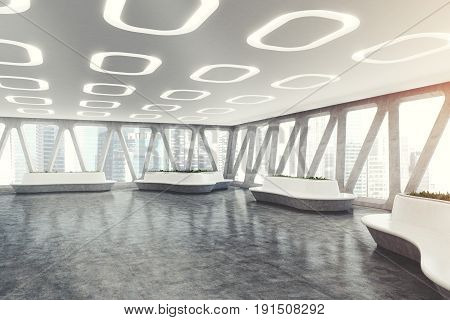 Spaceship style office interior with oval ceiling lamps concrete floor and panoramic windows with triangular frames. There are original flower beds with fresh grass. 3d rendering mock up toned image