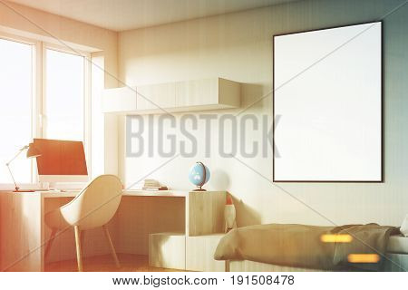 Side view of a kids room interior with a poster hanging above a bed bookshelves and a blue chair. White walls. 3d rendering mock up toned image