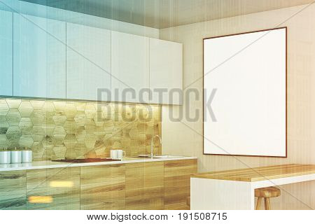 Luxury kitchen interior with white and wooden walls countertops with built in appliances a bar table and a stools. Framed vertical poster. Side. 3d rendering mock up toned image double exposure