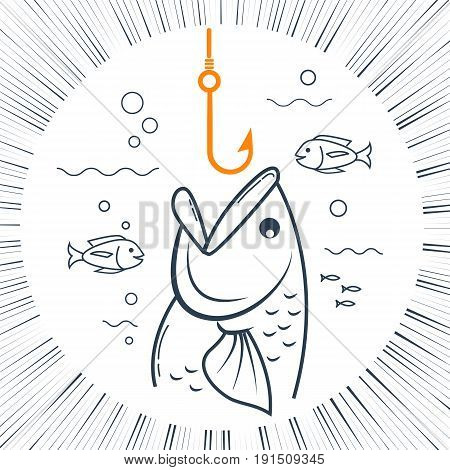 Icon Fishing Linear Style