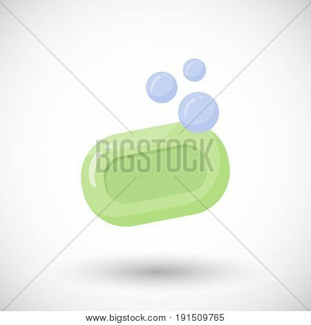 Soap with bubbles vector flat icon Flat design of bathroom hygiene or beauty object with round shadow vector illustration with shadow