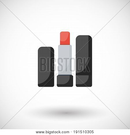 Lipstick vector flat icon Flat design of cosmetic product make up or beauty object with round shadow vector illustration with shadows