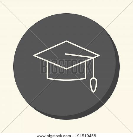 Graduated school cap vector round line icon with volume illusion simple color change
