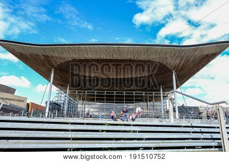 Cardiff Bay Cardiff Wales - May 20 2017: Sinedd National Assembly building view looking upwards.