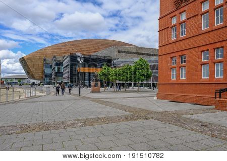 Cardiff Bay Wales - May 20 2017: Millennium Centre for Arts with walkway.