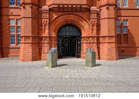 Cardiff Bay Wales - May 20 2017: Pierhead building with majestic entrance.